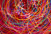 Abstract chaotic light trails background