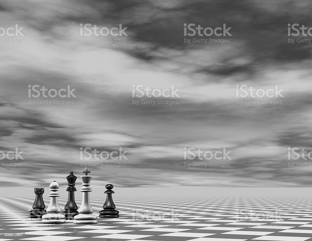 Abstract chess 3d background render, black and white. stock photo