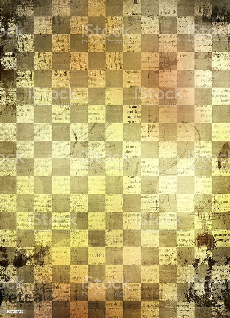 Abstract chess  background for design with grunge papers stock photo