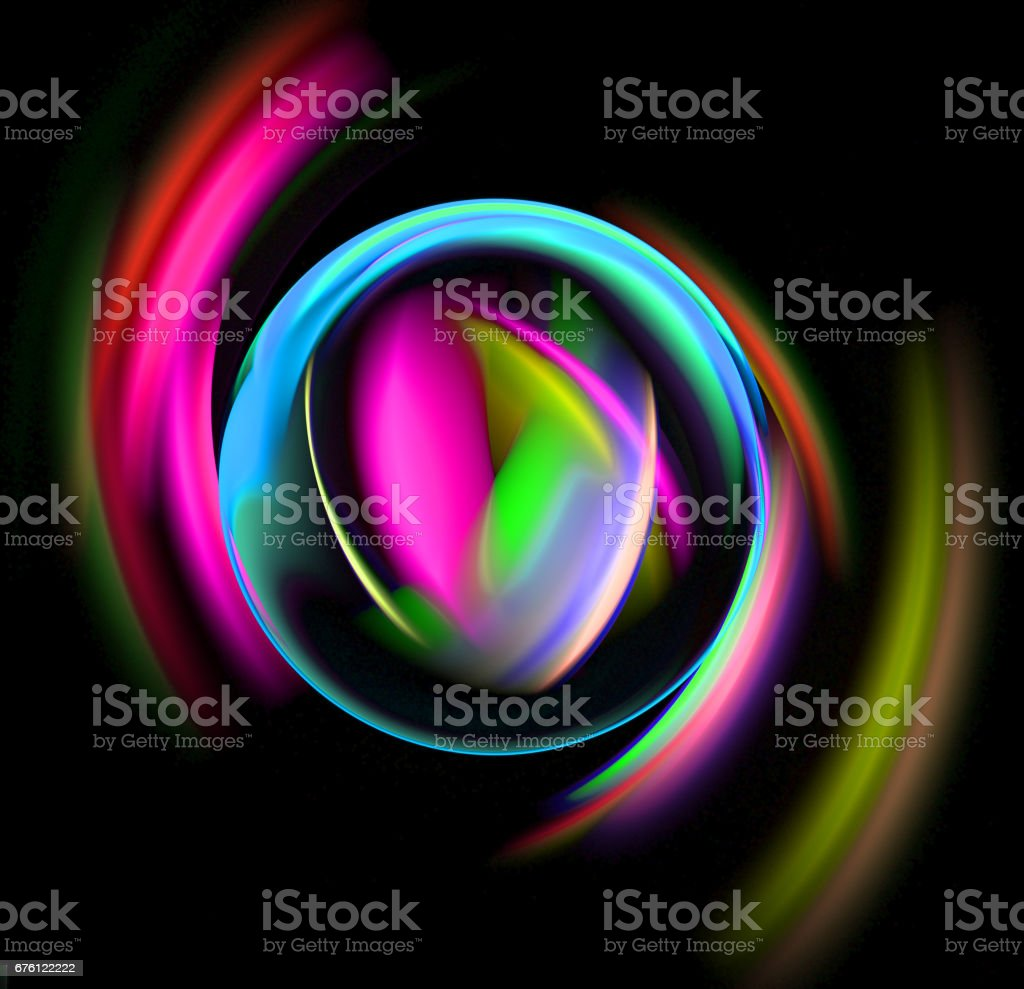 abstract Christmas colorful ball on black background stock photo