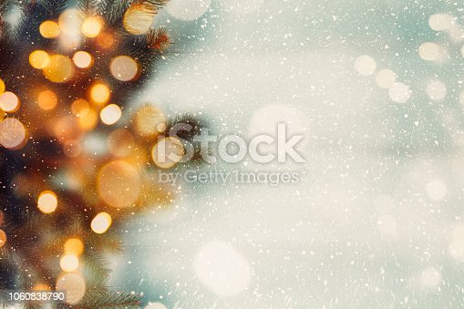 Fir branches with lights bokeh. Soft focus