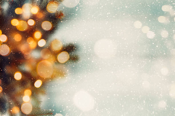 Abstract Christmas composition Fir branches with lights bokeh. Soft focus holidays stock pictures, royalty-free photos & images