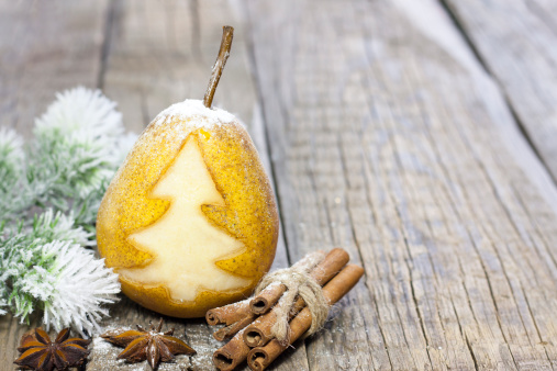 istock Abstract christmas pear with green tree 187088094