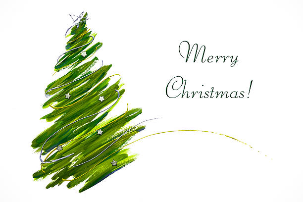 abstract christmas tree card - christmas green stock photos and pictures