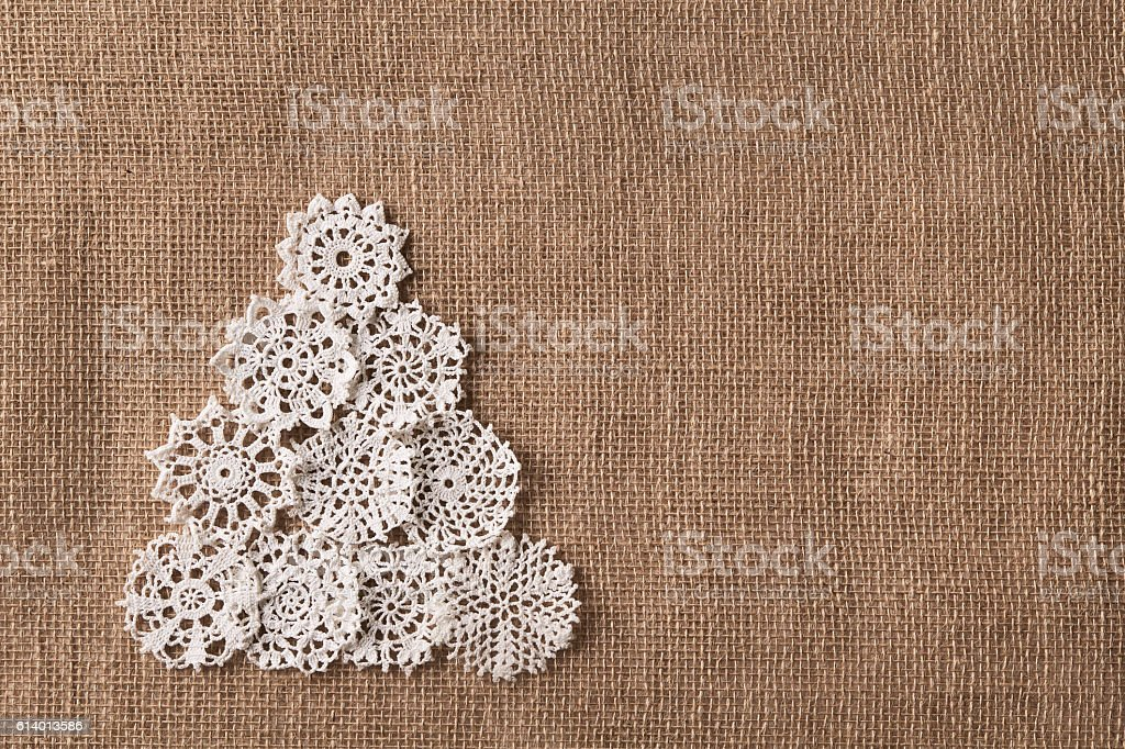 Abstract Christmas Tree, Lace Embroid Snowflake, Burlap Snow Flake stock photo