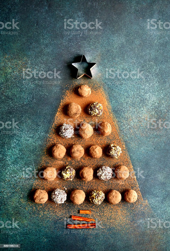 Abstract Christmas Tree Made From Chocolate Truffles Stock Photo