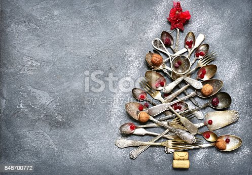 istock Abstract christmas tree made from cutlery 848700772