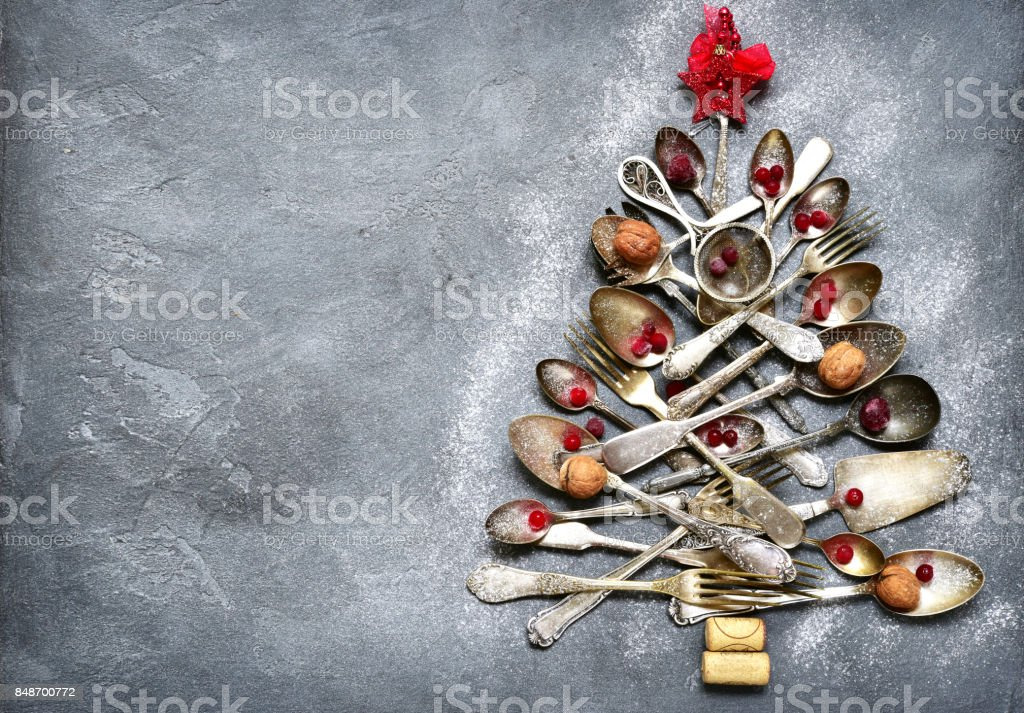 Abstract christmas tree made from cutlery stock photo