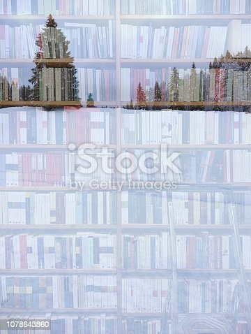 1057183432 istock photo Abstract christmas tree on library background 1078643860