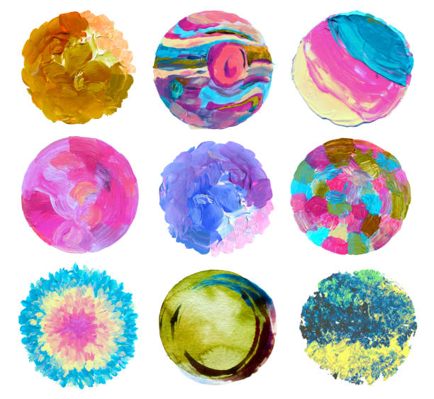 Abstract circle acrylic and watercolor painted background. Isolated. stock photo