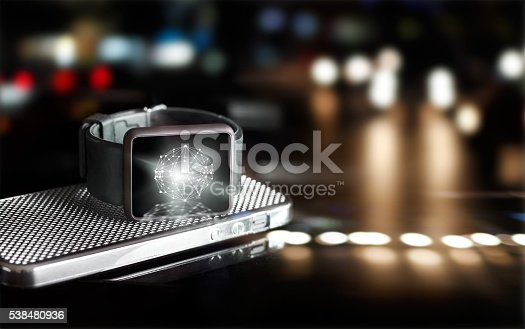 istock Abstract circle global customer network connection on smart watch 538480936