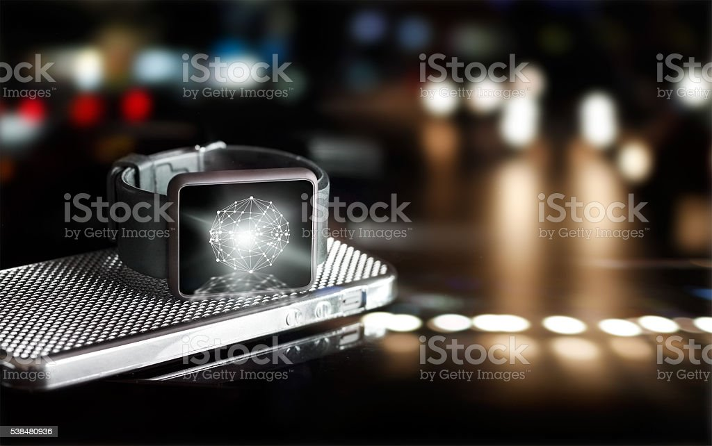 Abstract circle global customer network connection on smart watch stock photo