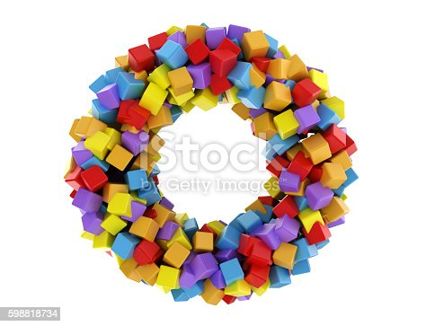 istock Abstract circle made of cubes 598818734