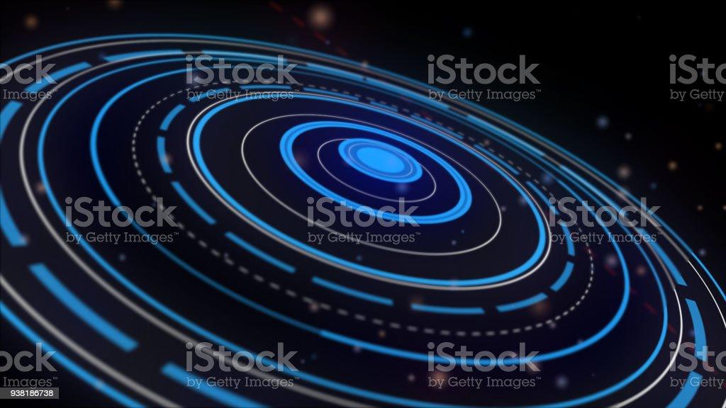 Soyut Daire Hareketli Grafik Galakside Siyah Arka Plan üzerinde Yer
