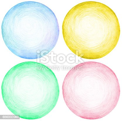 istock Abstract circle pencil scribbles background texture.. Isolated. Set. 656332060