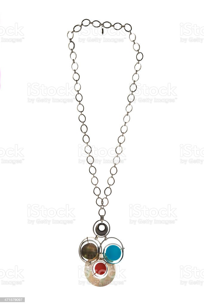 Abstract circles pendant on silver chain collar stock photo