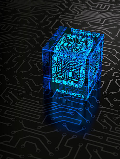Abstract Circuit Cube stock photo