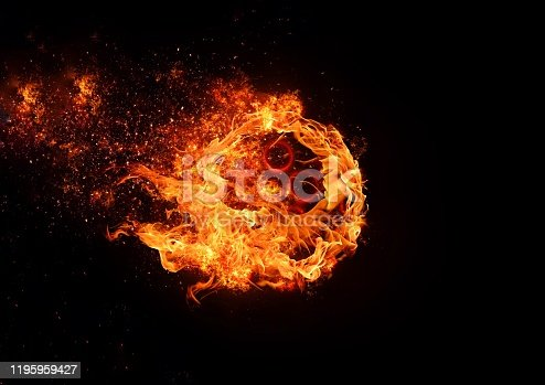 Abstract circular flame floating in the dark
