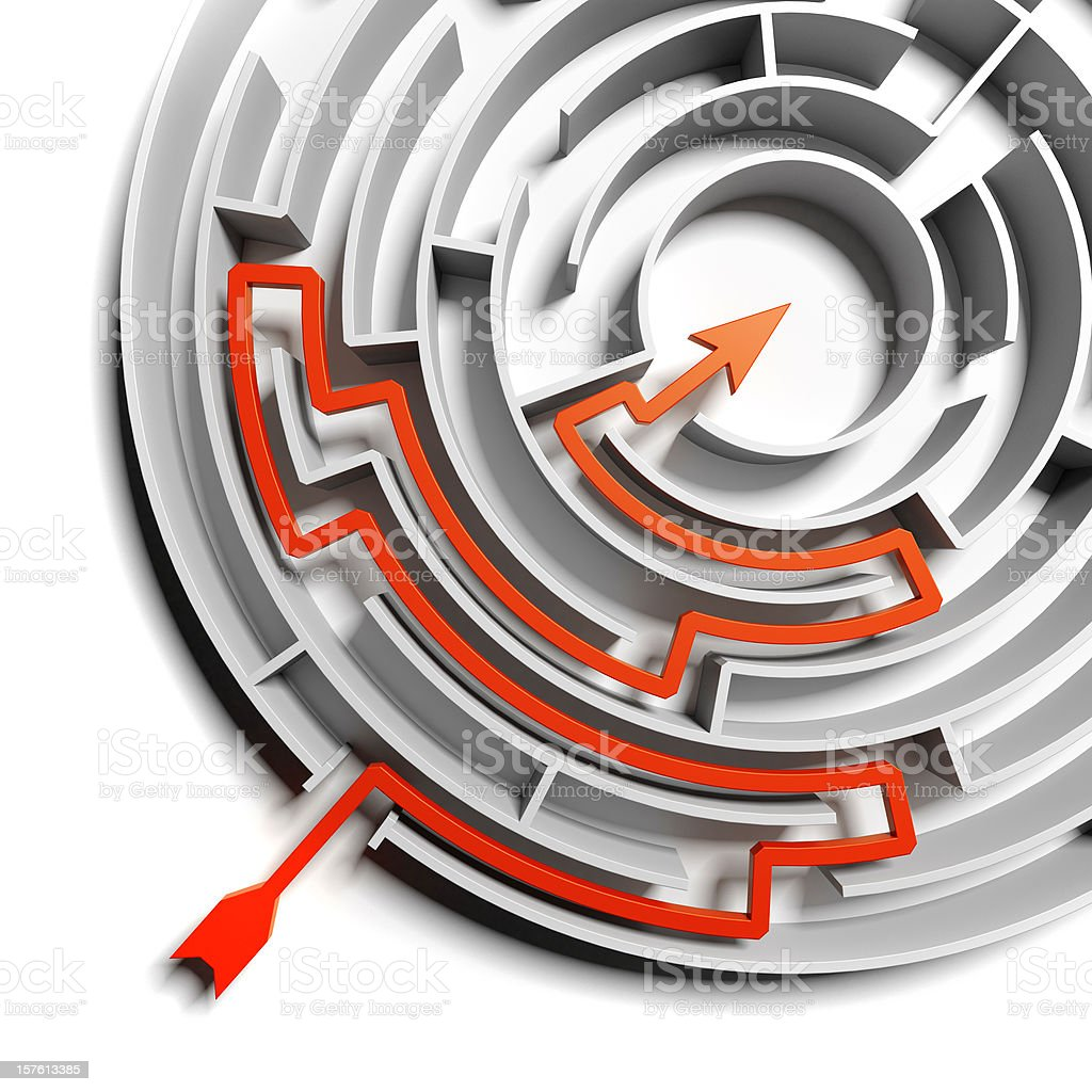 Abstract Circular Labyrinth whit Solution royalty-free stock photo