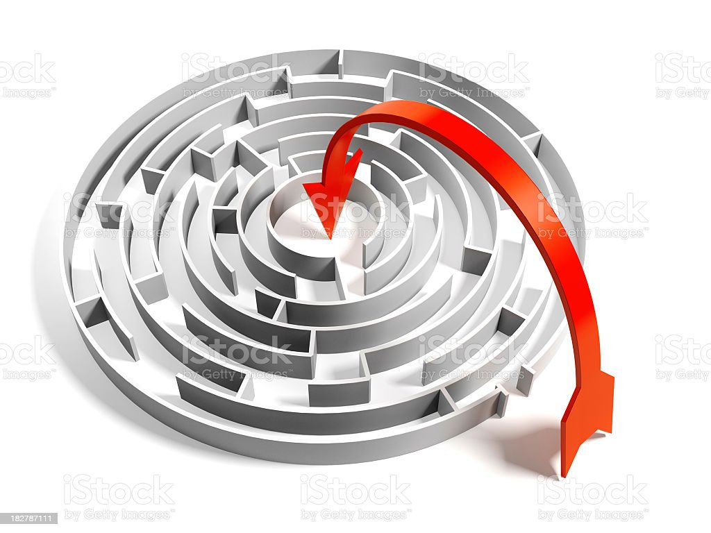 Abstract Circular Maze with easy way solution - Royalty-free Above Stock Photo