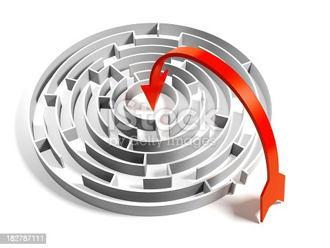 istock Abstract Circular Maze with easy way solution 182787111