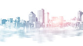 Abstract city building skyline metropolitan area in contemporary color style and futuristic effects. Real estate and property development. Innovative architecture and engineering concept.