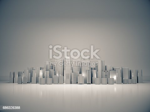 istock Abstract city for background,dark city,night city. 3D rendering 686326388