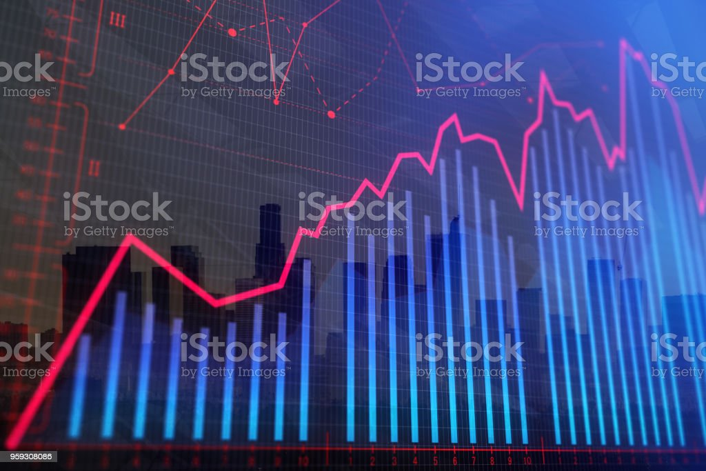 Abstract city forex background stock photo