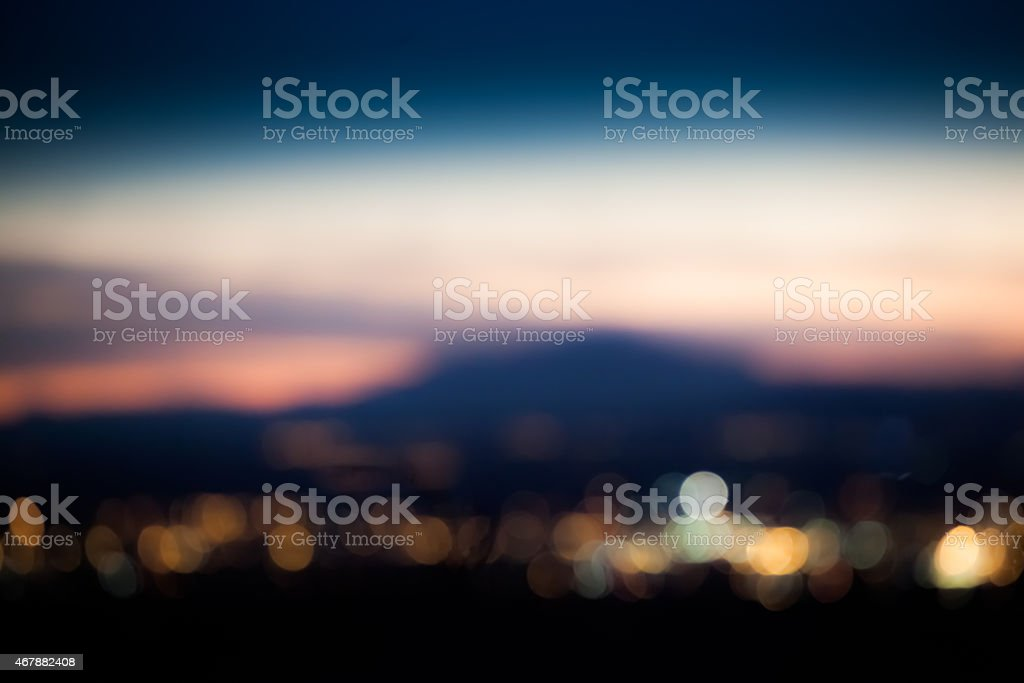 abstract city lights horizon soft focus stock photo