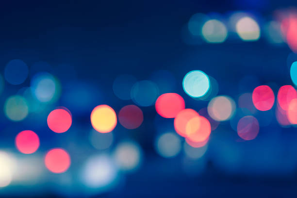 Abstract city lights in the night stock photo