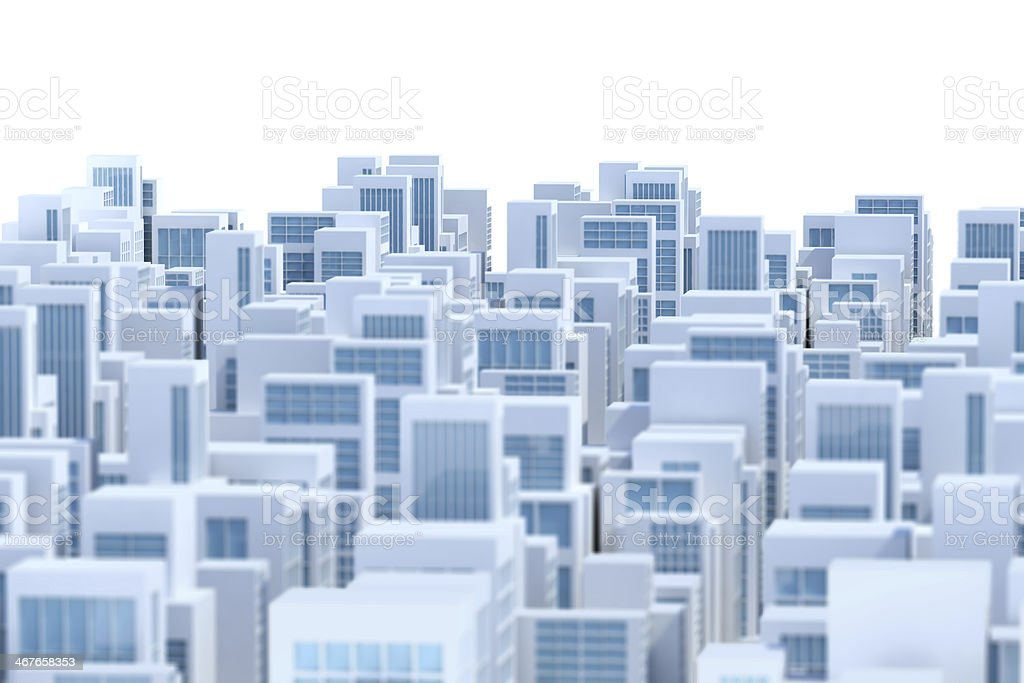 Abstract city skyline, white buildings background royalty-free stock photo