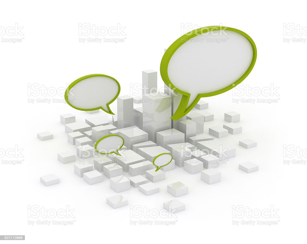 Abstract city with speech bubble stock photo