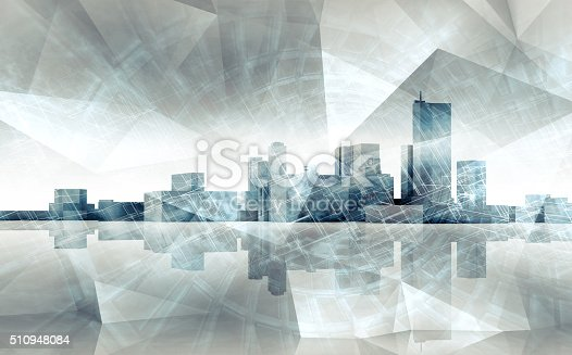 istock Abstract cityscape skyline. Blue toned 3 d render 510948084
