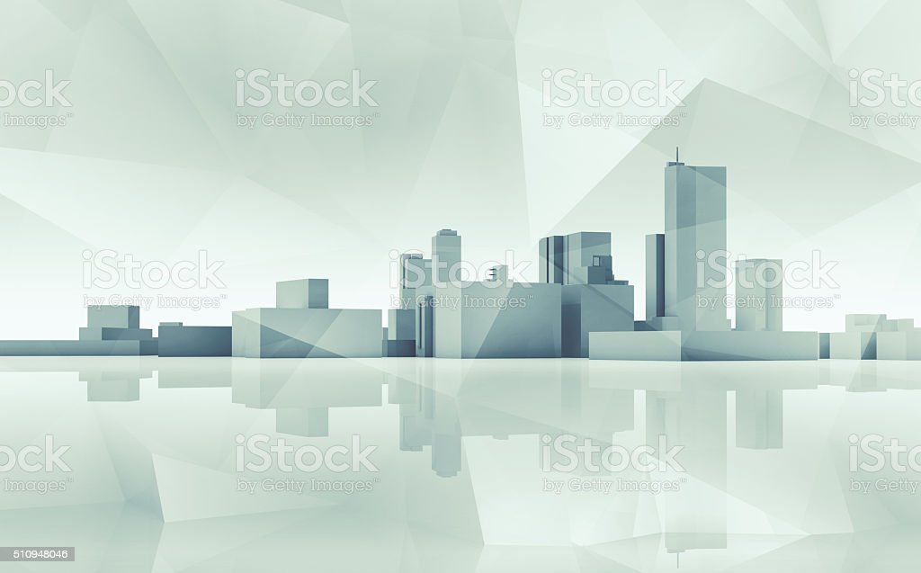 Abstract cityscape skyline. Blue toned 3d art stock photo
