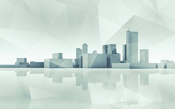 Abstract cityscape skyline. Blue toned 3d art stock photo