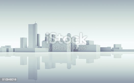 istock Abstract cityscape skyline. Blue toned 3d 510948016