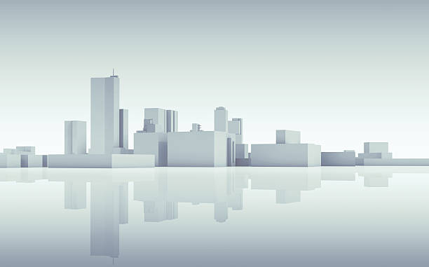 Abstract cityscape skyline. Blue toned 3d Abstract modern cityscape skyline. Blue toned 3d render with reflection on ground generic description stock pictures, royalty-free photos & images
