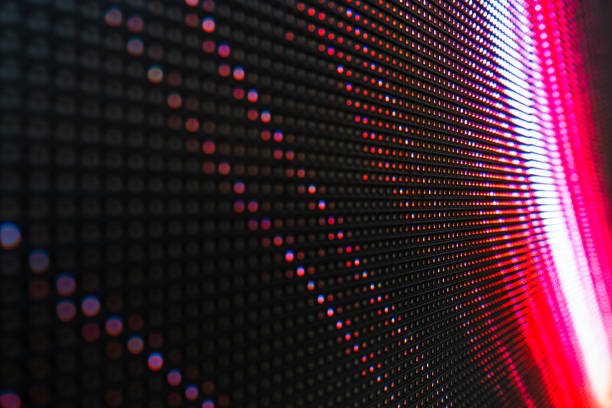 abstract close up bright colored led smd video wall abstract background - led painel imagens e fotografias de stock