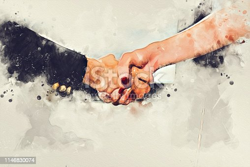 istock Abstract close-up colorful handshake business on watercolor illustration painting background, business teamwork concept. 1146830074