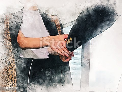 istock Abstract close-up colorful handshake business on watercolor illustration painting background, business teamwork concept. 1146830110