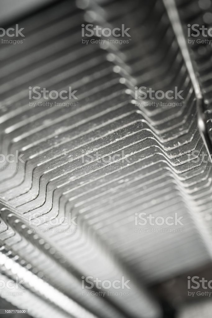 Abstract closeup on pc computer processor heat sink. stock photo