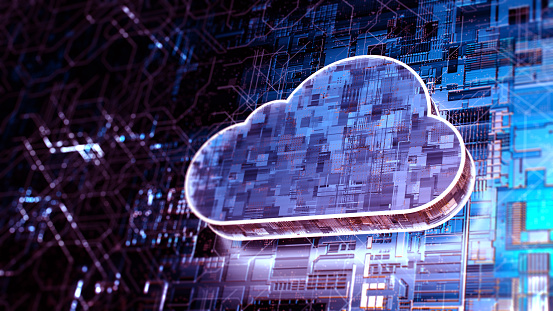 Digital background depicting innovative technologies, data protection Internet technologies. Cloud computing digital concept