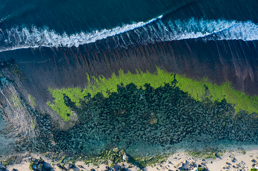 Taken directly from above by drone, abstract horizontal view of a sea coastline lagoon composed by rocks and algae with ocean waves coming in. The scenery was taken in Bali Indonesia.