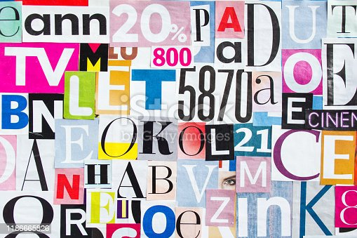 546439664 istock photo Abstract collage of deifferent pieces magazine paper with letters and numbers. 1186665826