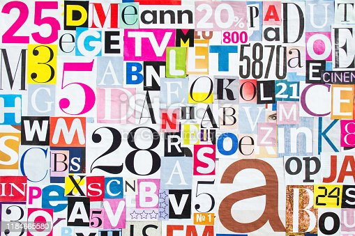 546439664 istock photo Abstract collage of pieces of colorful magazine paper with letters and numbers. 1184665580