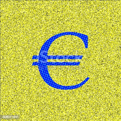 istock abstract color Euro sign with yellow texture background 508071641
