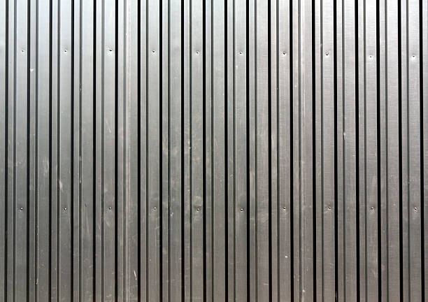 abstract color metal plate fence texture. - 골진 뉴스 사진 이미지