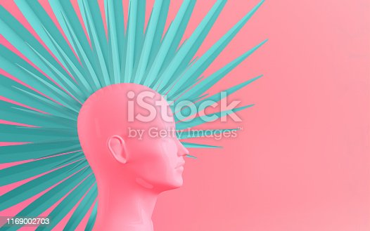 Abstract color pastel background with female profile and stylized defiant fashionable Mohawk hairstyle painted in pink and blue 3D illustration
