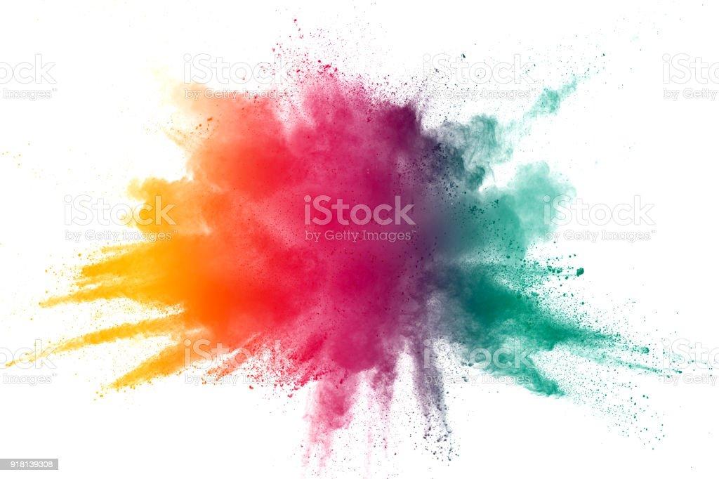 explosion de poudre couleur abstraites sur fond blanc. Figer le mouvement de projection de poussière. - Photo de Abstrait libre de droits