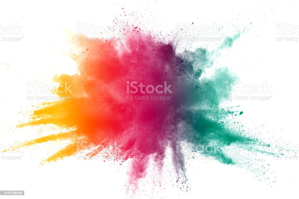 abstract color powder explosion on  white background.Freeze motion of dust splash. stock photo